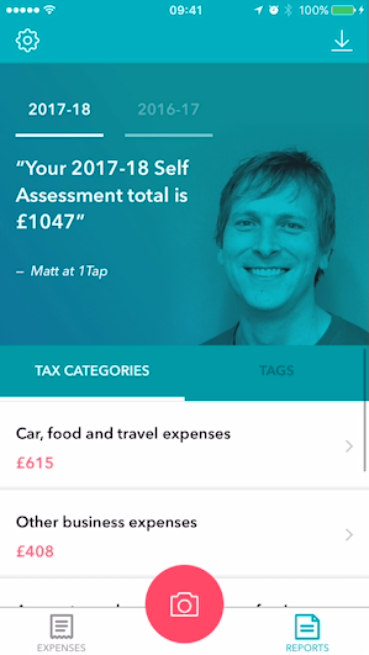 1tap receipts - simple solution to claiming expenses for self employed